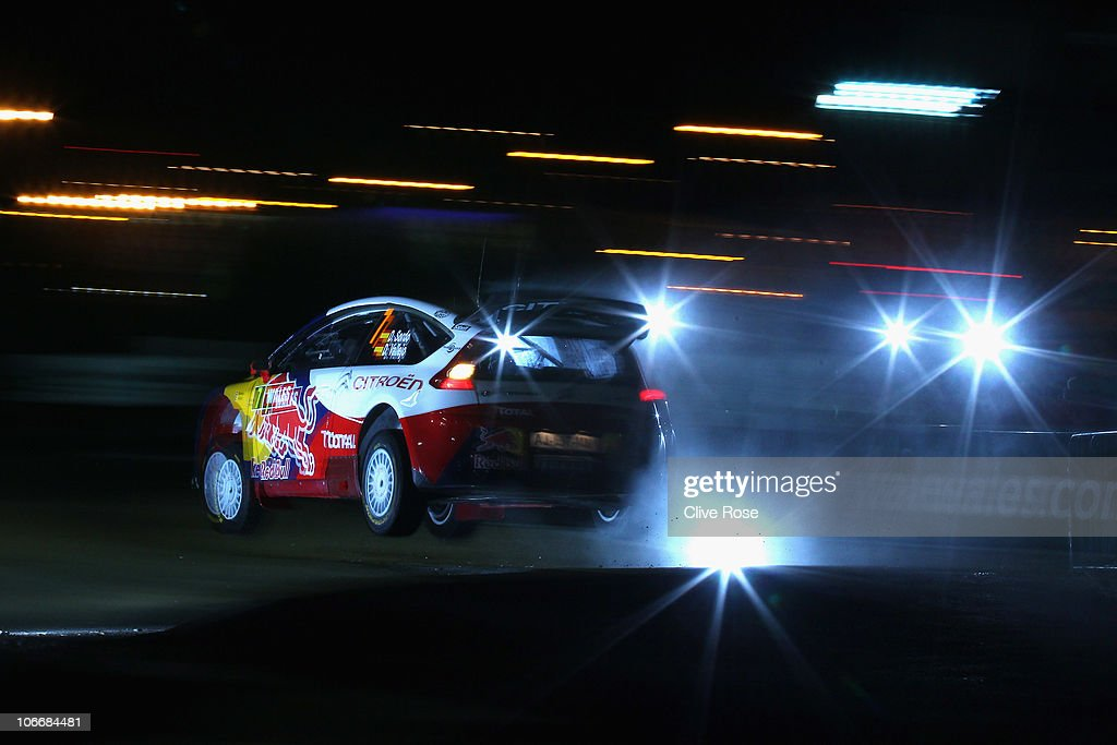 <a gi-track='captionPersonalityLinkClicked' href=/galleries/search?phrase=Dani+Sordo&family=editorial&specificpeople=666298 ng-click='$event.stopPropagation()'>Dani Sordo</a> of Spain drives the Citroen junior team C4 during the Shakedown for the Wales Rally GB on November 10, 2010 in Cardiff, Wales.