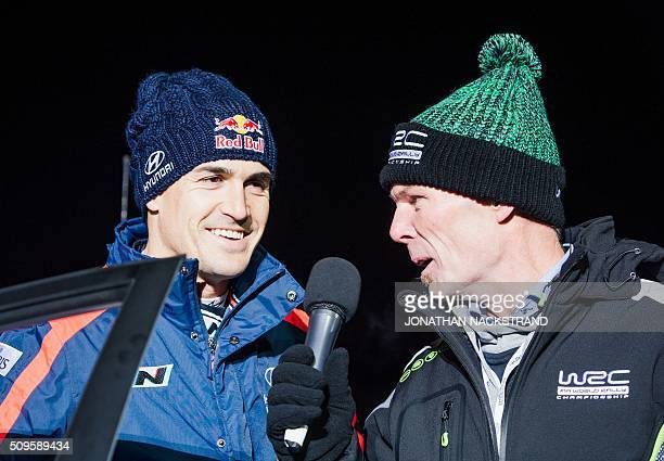 Dani Sordo of Spain with his Hyundai i20 WRC are presented during driver's presentation ahead of the Rally Sweden second round of the FIA World Rally...