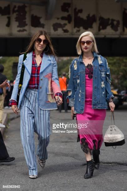 Dani Stahl Gabrielle Korn are seen attending Coach during New York Fashion Week wearing Tibi Thom Browne Isabel Marant Prada Marc Jacobs Alice Olivia...