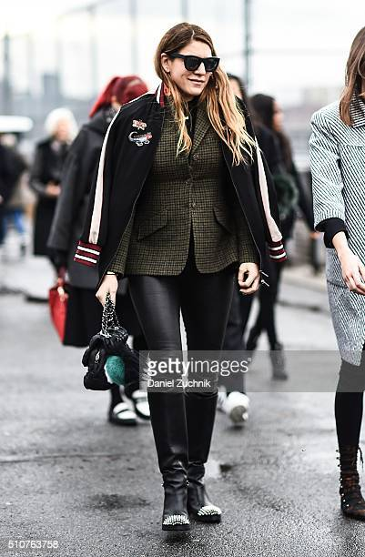 Dani Stahl is seen outside the Coach show wearing a varsity jacket during New York Fashion Week Women's Fall/Winter 2016 on February 16 2016 in New...
