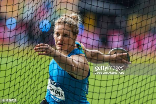 Dani Stevens of Australia competes in women's Discus Throw during the AG Insurance Memorial Van Damme as part of the IAAF Diamond League 2017 in King...