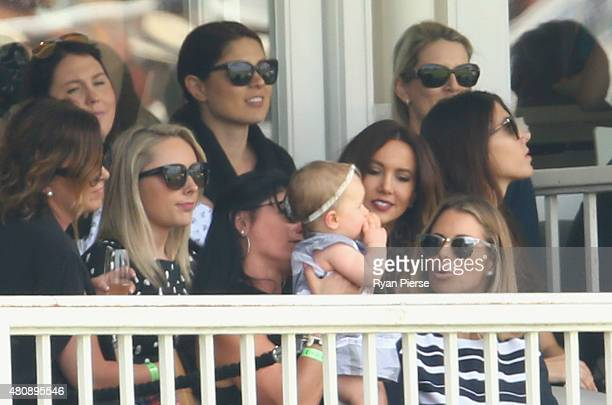 Dani Willis partner of Steve Smith of Australia Ivy Warner daughter of David Warner of Australia and Candice Warner Kyly Clarke wife of Michael...