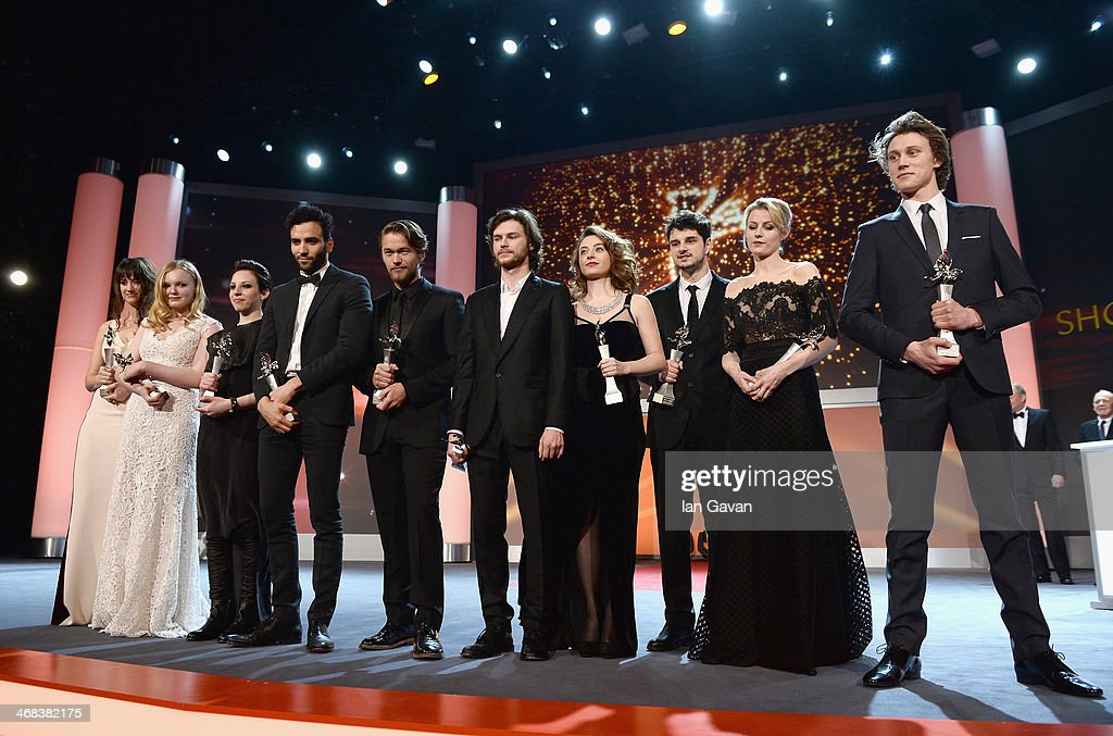 Danica Curcic (Denmark), Maria Dragus (Germany), Miriam Karlkvist (Italy), Marwan Kenzari (The Netherlands), Jakob Oftebro (Norway), Mateusz Kosciukiewicz (Poland), Cosmnia Stratan (Romania), Nikola Rakocevic (Serbia), Edda Magnason (Sweden) and George MacKay (UK) on stage at the Shooting Stars stage presentation during the 64th Berlinale International Film Festival at the Berlinale Palast on February 10, 2014 in Berlin, Germany.