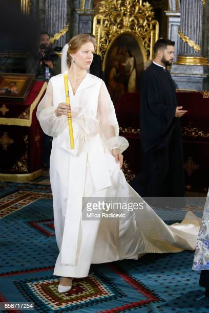 Danica Marinkovic during her church wedding at The Cathedral Church of St Michael the Archangel on October 7 2017 in Belgrade Serbia