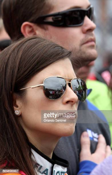 Danica Patrick and Ricky Stenhouse Jr top on pit road before the Drive4COPD 300 Nationwide Series race on Saturday Feb 22 at Daytona International...