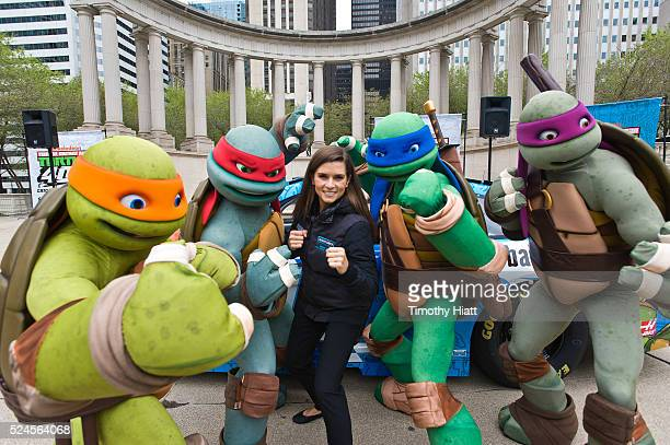 Danica Patrick and the Teenage Mutant Ninja Turtles attend the Nickelodeon And Chicagoland Speedway Team Up With Danica Patrick To Announce Teenage...