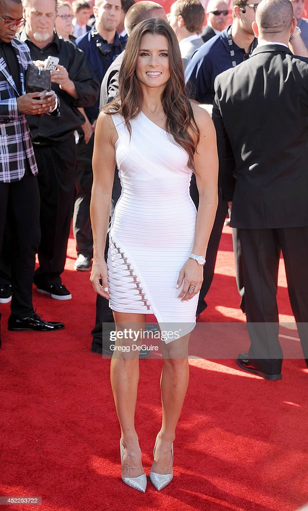 <a gi-track='captionPersonalityLinkClicked' href=/galleries/search?phrase=Danica+Patrick&family=editorial&specificpeople=183352 ng-click='$event.stopPropagation()'>Danica Patrick</a> arrives at the 2014 ESPY Awards at Nokia Theatre L.A. Live on July 16, 2014 in Los Angeles, California.