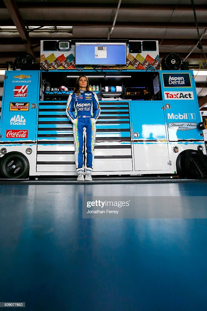 Danica Patrick, driver of the #10 Aspen Dental Chevrolet, stands in the garage area during practice for the NASCAR Sprint Cup Series GEICO 500 at Talladega Superspeedway on April 29, 2016 in Talladega, Alabama.