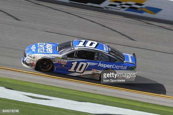 Danica Patrick driver of the Aspen Dental Ford during practice for the NASCAR Monster Energy Cup Series Daytona 500 on February 24 at the Daytona...