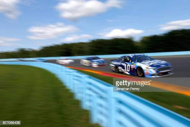 Danica Patrick driver of the Aspen Dental Ford leads a pack of cars during the Monster Energy NASCAR Cup Series I Love NY 355 at The Glen at Watkins...