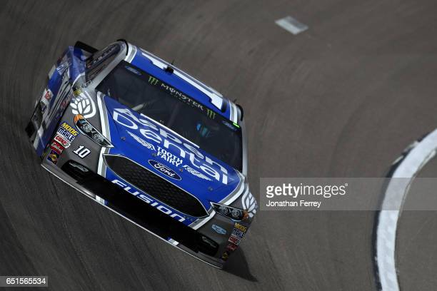 Danica Patrick driver of the Aspen Dental Ford practices for the Monster Energy NASCAR Cup Series Kobalt 400 at Las Vegas Motor Speedway on March 10...