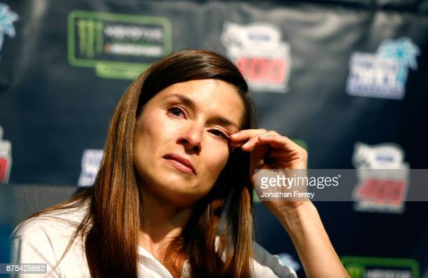 Danica Patrick driver of the Aspen Dental Ford speaks during a press conference announcing her retirement from fulltime racing at HomesteadMiami...