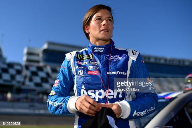 Danica Patrick driver of the Aspen Dental Ford stands on the grid during qualifying for the Monster Energy NASCAR Cup Series 59th Annual DAYTONA 500...