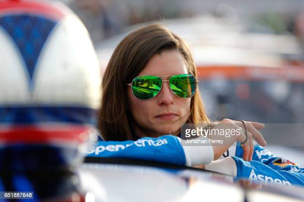 Danica Patrick driver of the Aspen Dental Ford stands on the grid during qualifying for the Monster Energy NASCAR Cup Series Kobalt 400 at Las Vegas...