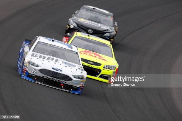 Danica Patrick driver of the Code 3 Associates Ford leads a pack of cars during the Monster Energy NASCAR Cup Series Pure Michigan 400 at Michigan...