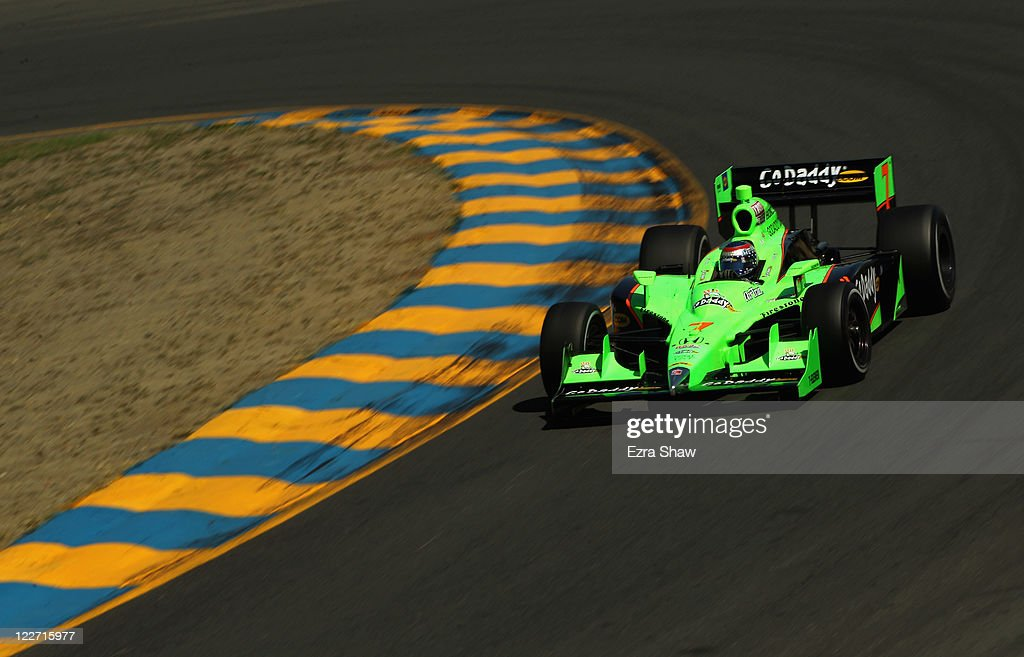 <a gi-track='captionPersonalityLinkClicked' href=/galleries/search?phrase=Danica+Patrick&family=editorial&specificpeople=183352 ng-click='$event.stopPropagation()'>Danica Patrick</a>, driver of the #7 GoDaddy Andretti Autosport Dallara Honda, races in the IZOD IndyCar Series Indy Grand Prix of Sonama race at Infineon Raceway on August 28, 2011 in Sonoma, California.