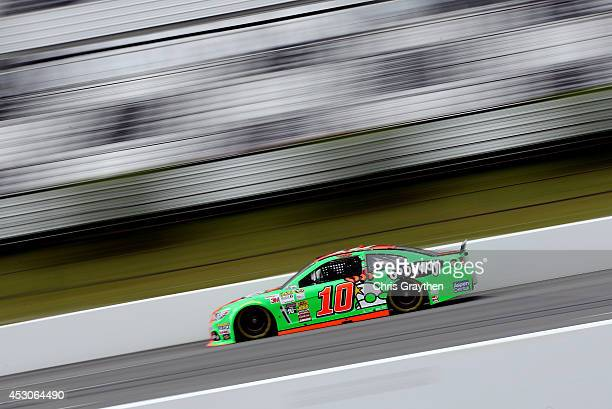 Danica Patrick driver of the GoDaddy Chevrolet drives during practice for the NASCAR Sprint Cup Series GoBowlingcom 400 at Pocono Raceway on August 2...