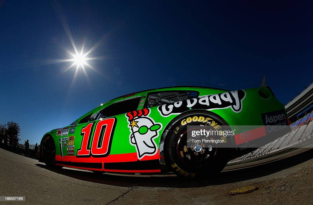 <a gi-track='captionPersonalityLinkClicked' href=/galleries/search?phrase=Danica+Patrick&family=editorial&specificpeople=183352 ng-click='$event.stopPropagation()'>Danica Patrick</a>, driver of the #10 GoDaddy Chevrolet, drives through the garage area during practice for the NASCAR Sprint Cup Series AAA Texas 500 at Texas Motor Speedway on November 1, 2013 in Fort Worth, Texas.