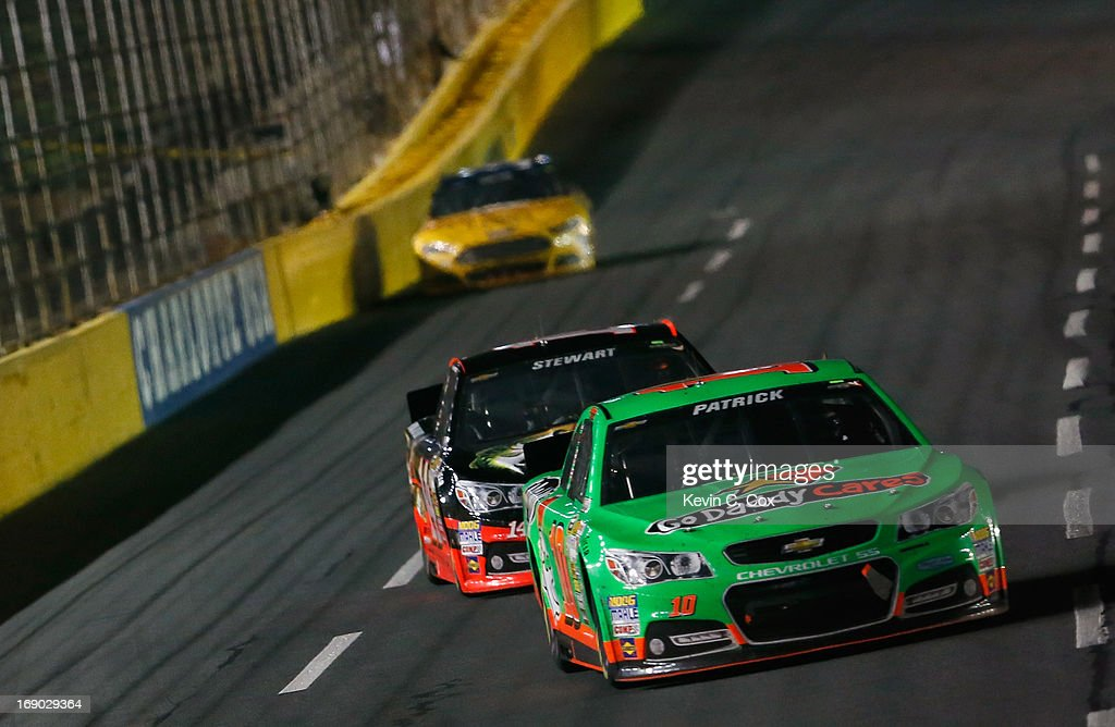 Danica Patrick, driver of the #10 GoDaddy Chevrolet, leads a group of cars during the NASCAR Sprint Cup Series All-Star race at Charlotte Motor Speedway on May 18, 2013 in Concord, North Carolina.
