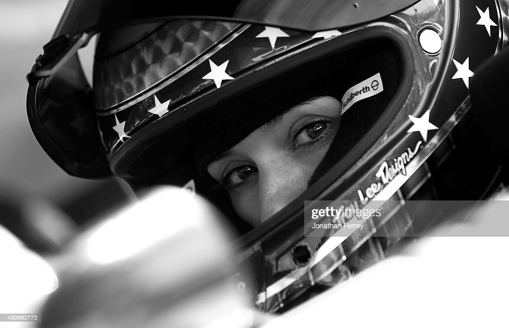 Danica Patrick, driver of the #10 GoDaddy Chevrolet, looks on during qualifying for the NASCAR Sprint Cup Series Toyota/Save Mart 350 at Sonoma Raceway on June 21, 2014 in Sonoma, California.