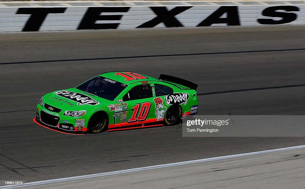 <a gi-track='captionPersonalityLinkClicked' href=/galleries/search?phrase=Danica+Patrick&family=editorial&specificpeople=183352 ng-click='$event.stopPropagation()'>Danica Patrick</a>, driver of the #10 GoDaddy Chevrolet, practices for the NASCAR Sprint Cup Series AAA Texas 500 at Texas Motor Speedway on November 2, 2013 in Fort Worth, Texas.