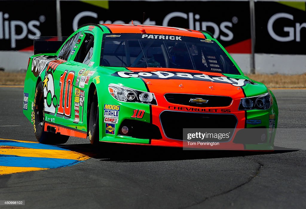 <a gi-track='captionPersonalityLinkClicked' href=/galleries/search?phrase=Danica+Patrick&family=editorial&specificpeople=183352 ng-click='$event.stopPropagation()'>Danica Patrick</a>, driver of the #10 GoDaddy Chevrolet, qualifies for the NASCAR Sprint Cup Series Toyota/Save Mart 350 at Sonoma Raceway on June 21, 2014 in Sonoma, California.