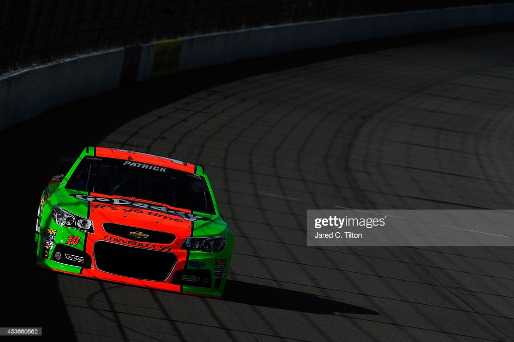 <a gi-track='captionPersonalityLinkClicked' href=/galleries/search?phrase=Danica+Patrick&family=editorial&specificpeople=183352 ng-click='$event.stopPropagation()'>Danica Patrick</a>, driver of the #10 GoDaddy Chevrolet, qualifies for the NASCAR Sprint Cup Series Pure Michigan 400 at Michigan International Speedway on August 15, 2014 in Brooklyn, Michigan.