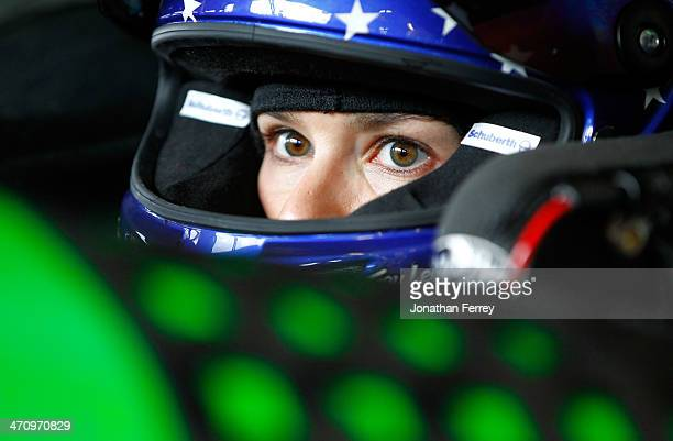 Danica Patrick driver of the GoDaddy Chevrolet sits in her car during practice for the NASCAR Sprint Cup Series Daytona 500 at Daytona International...