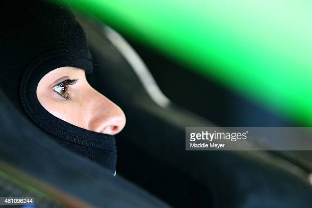 Danica Patrick driver of the GoDaddy Chevrolet sits in her car during practice for the NASCAR Sprint Cup Series 5Hour Energy 301 at New Hampshire...