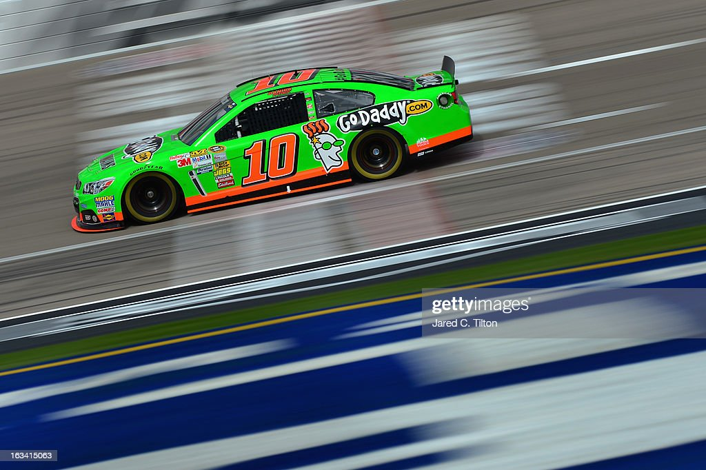 <a gi-track='captionPersonalityLinkClicked' href=/galleries/search?phrase=Danica+Patrick&family=editorial&specificpeople=183352 ng-click='$event.stopPropagation()'>Danica Patrick</a>, driver of the #10 GoDaddy Racing Chevrolet, practices for the NASCAR Sprint Cup Series Kobalt Tools 400 at Las Vegas Motor Speedway on March 9, 2013 in Las Vegas, Nevada.