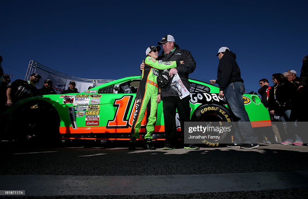<a gi-track='captionPersonalityLinkClicked' href=/galleries/search?phrase=Danica+Patrick&family=editorial&specificpeople=183352 ng-click='$event.stopPropagation()'>Danica Patrick</a>, driver of the #10 GoDaddy.com Chevrolet, celebrates with crew chief Tony Gibson after qualifying for the NASCAR Sprint Cup Series Daytona 500 at Daytona International Speedway on February 17, 2013 in Daytona Beach, Florida.