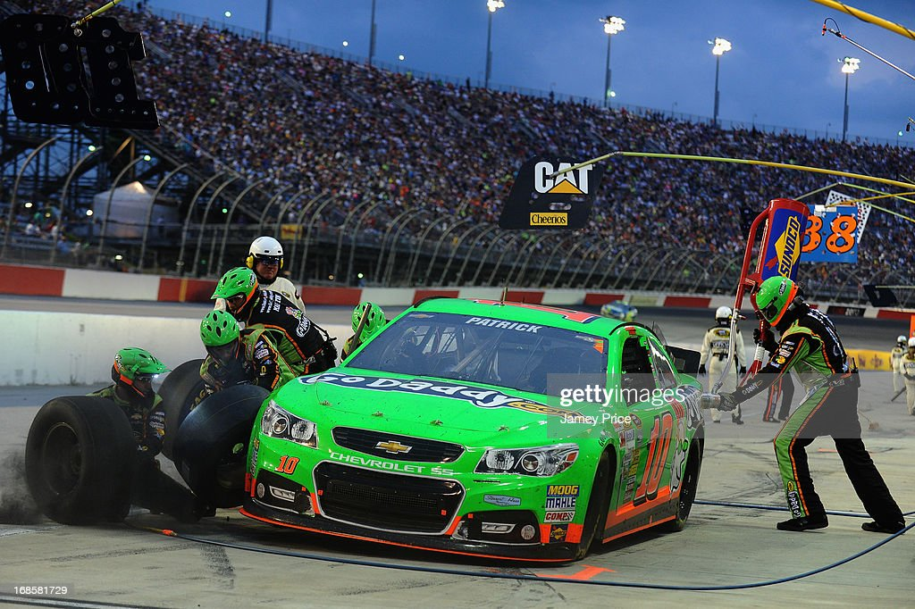 Danica Patrick, driver of the #10 GoDaddy.com Chevrolet, comes in for a pit stop during the NASCAR Sprint Cup Series Bojangles' Southern 500 at Darlington Raceway on May 11, 2013 in Darlington, South Carolina.