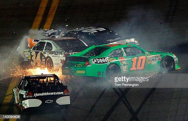 Danica Patrick driver of the GoDaddycom Chevrolet David Ragan driver of the Front Row Motorsports Ford and Jimmie Johnson driver of the Lowe's...