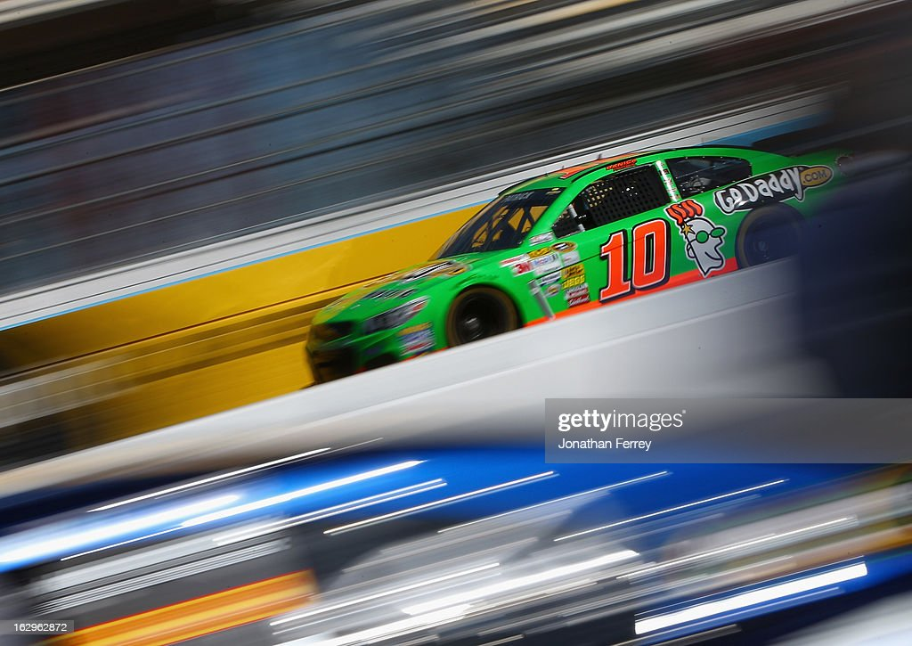 <a gi-track='captionPersonalityLinkClicked' href=/galleries/search?phrase=Danica+Patrick&family=editorial&specificpeople=183352 ng-click='$event.stopPropagation()'>Danica Patrick</a>, driver of the #10 GoDaddy.com Chevrolet, drives during practice for the NASCAR Sprint Cup Series Fresh Fit 500 at Phoenix International Raceway on March 2, 2013 in Avondale, Arizona.
