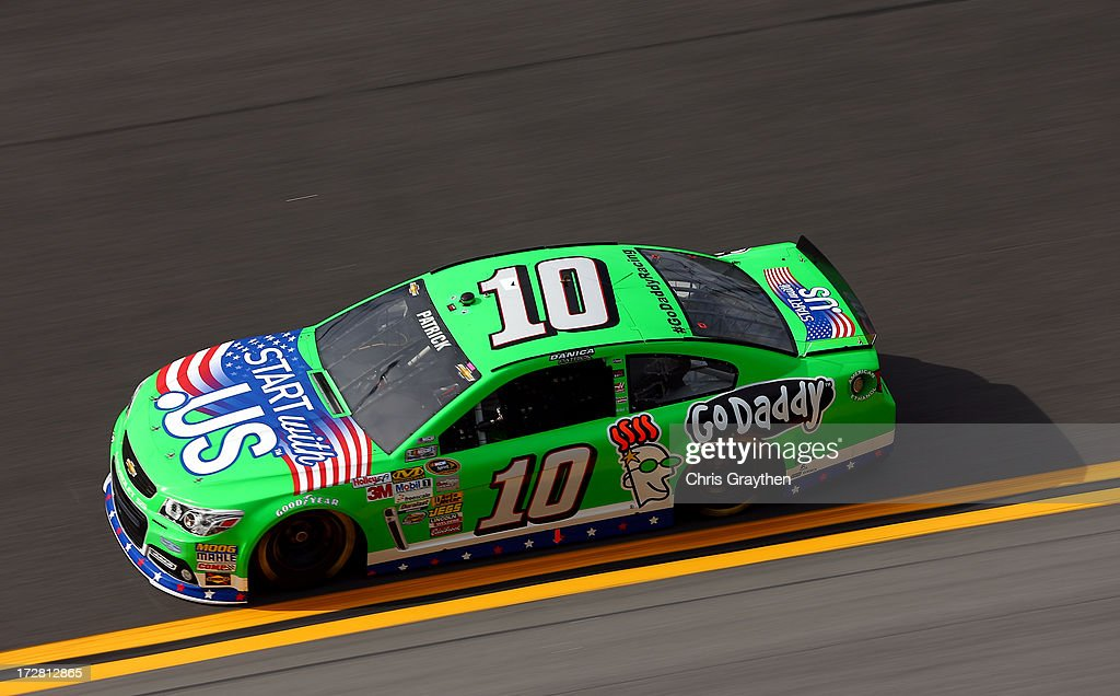 <a gi-track='captionPersonalityLinkClicked' href=/galleries/search?phrase=Danica+Patrick&family=editorial&specificpeople=183352 ng-click='$event.stopPropagation()'>Danica Patrick</a>, driver of the #10 GoDaddy.com Chevrolet, drives during practice for the NASCAR Sprint Cup Series Coke Zero 400 at Daytona International Speedway on July 4, 2013 in Daytona Beach, Florida.