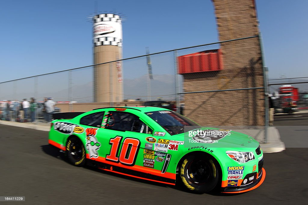 Danica Patrick, driver of the #10 GoDaddy.com Chevrolet, drives to the garage area during practice for the NASCAR Sprint Cup Series Auto Club 400 at Auto Club Speedway on March 23, 2013 in Fontana, California.
