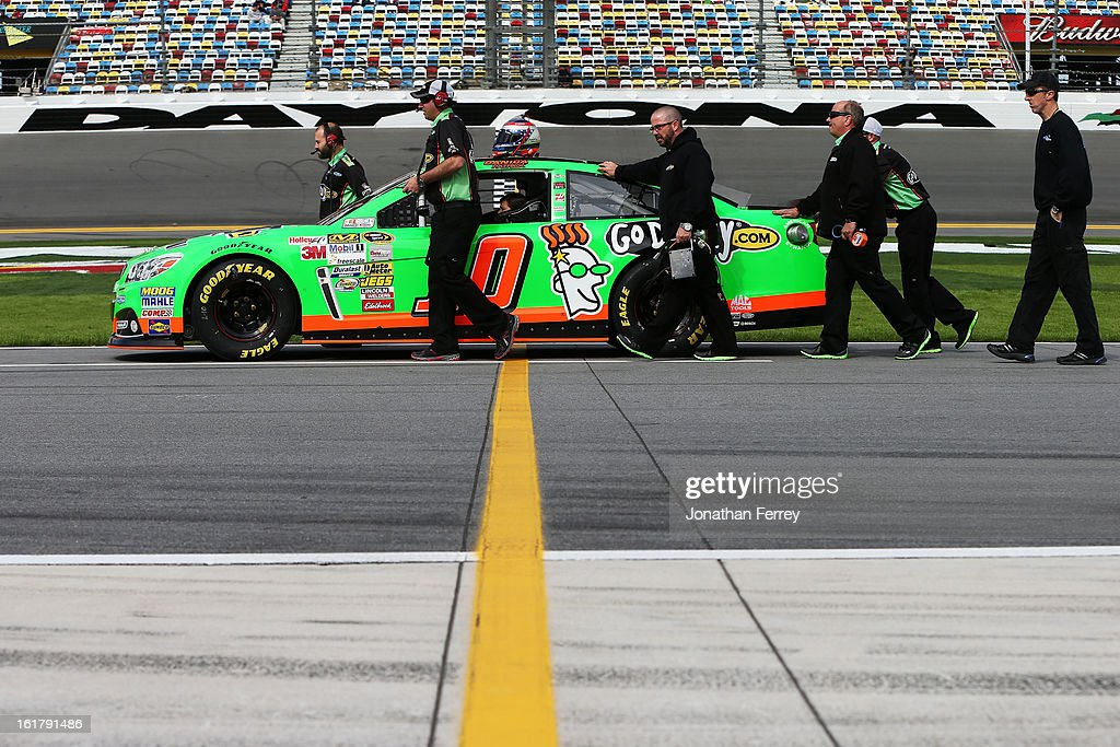 Danica Patrick, driver of the #10 GoDaddy.com Chevrolet, during practice for the NASCAR Sprint Cup Series Daytona 500 at Daytona International Speedway on February 16, 2013 in Daytona Beach, Florida