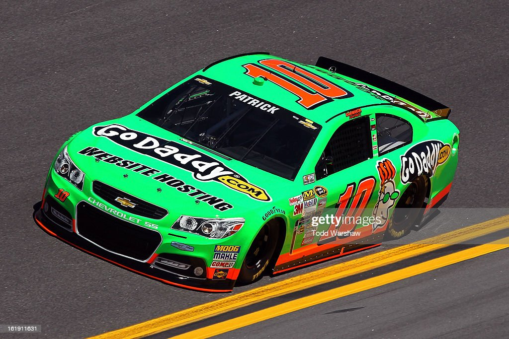 <a gi-track='captionPersonalityLinkClicked' href=/galleries/search?phrase=Danica+Patrick&family=editorial&specificpeople=183352 ng-click='$event.stopPropagation()'>Danica Patrick</a>, driver of the #10 GoDaddy.com Chevrolet, during qualifying for the NASCAR Sprint Cup Series Daytona 500 at Daytona International Speedway on February 17, 2013 in Daytona Beach, Florida. Patrick became the first woman in the history of NASCAR to win a Sprint Cup Pole.