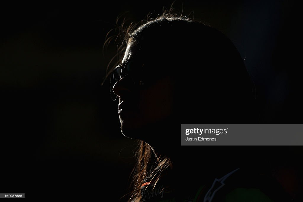 <a gi-track='captionPersonalityLinkClicked' href=/galleries/search?phrase=Danica+Patrick&family=editorial&specificpeople=183352 ng-click='$event.stopPropagation()'>Danica Patrick</a>, driver of the #10 GoDaddy.com Chevrolet, looks on from the grid during qualifying for the NASCAR Sprint Cup Series Subway Fresh Fit 500 at Phoenix International Raceway on March 1, 2013 in Avondale, Arizona.
