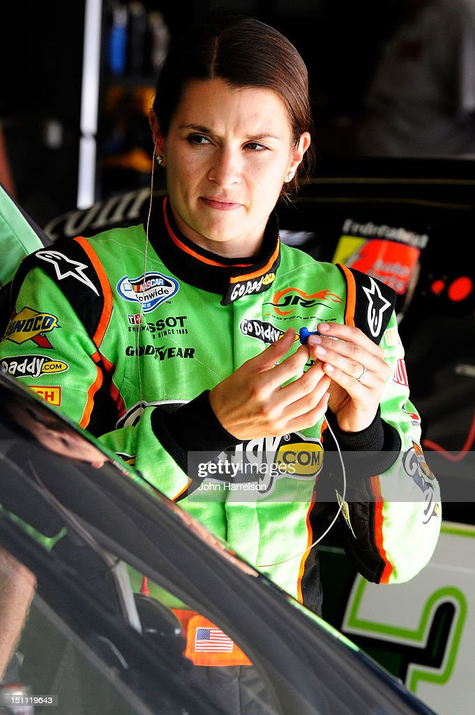 <a gi-track='captionPersonalityLinkClicked' href=/galleries/search?phrase=Danica+Patrick&family=editorial&specificpeople=183352 ng-click='$event.stopPropagation()'>Danica Patrick</a>, driver of the #10 GoDaddy.com Chevrolet, looks on in the garage during practice for the NASCAR Sprint Cup Series AdvoCare 500 at Atlanta Motor Speedway on September 1, 2012 in Hampton, Georgia.