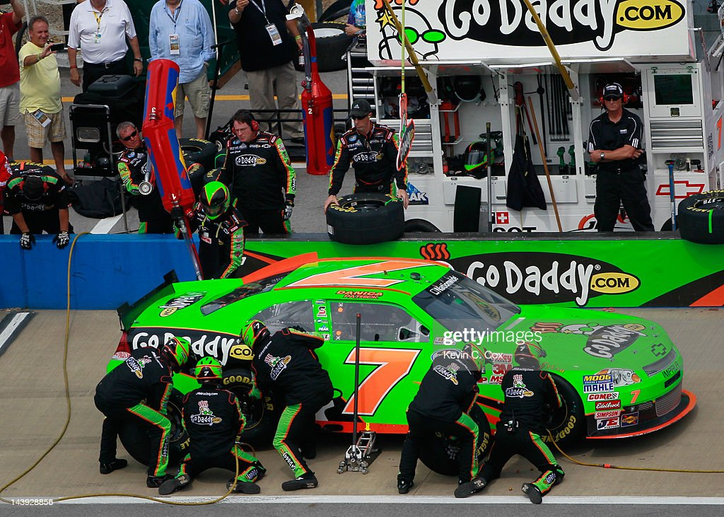 Danica Patrick, driver of the #7 GoDaddy.com Chevrolet, pits during the NASCAR Nationwide Series Aaron's 312 at Talladega Superspeedway on May 5, 2012 in Talladega, Alabama.