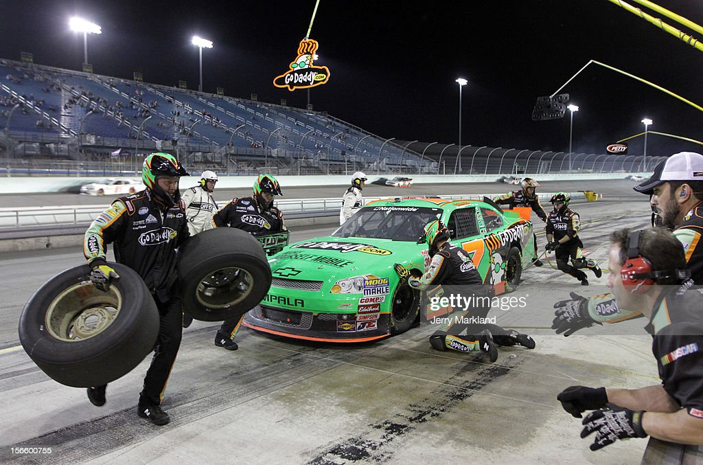 Danica Patrick, driver of the #7 GoDaddy.com Chevrolet, pits during the NASCAR Nationwide Series Ford EcoBoost 300 at Homestead-Miami Speedway on November 17, 2012 in Homestead, Florida.