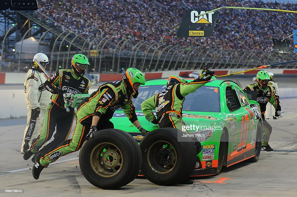 Danica Patrick, driver of the #10 GoDaddy.com Chevrolet, pits during the NASCAR Sprint Cup Series Bojangles' Southern 500 at Darlington Raceway on May 11, 2013 in Darlington, South Carolina.