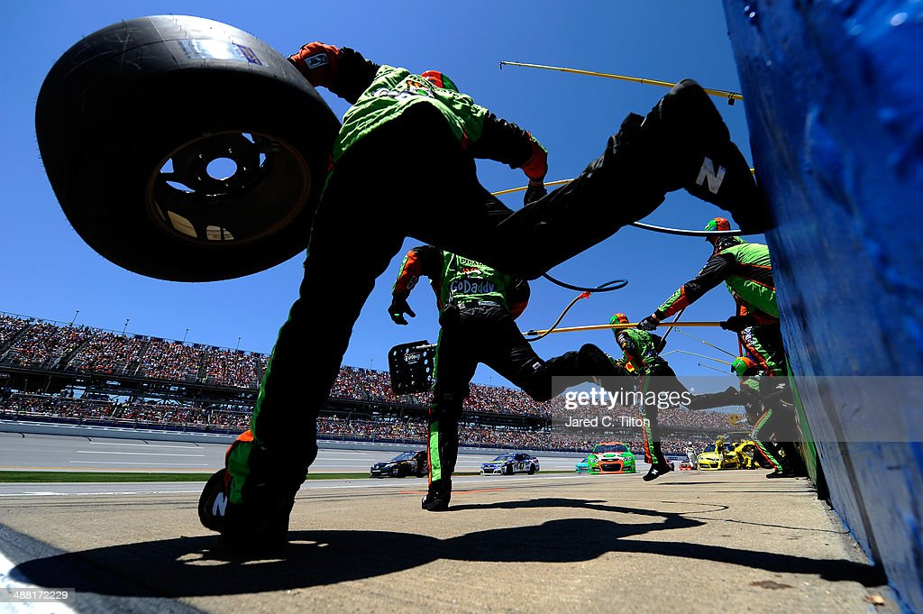 Danica Patrick, driver of the #10 GoDaddy.com Chevrolet, pits during the NASCAR Sprint Cup Series Aaron's 499 at Talladega Superspeedway on May 4, 2014 in Talladega, Alabama.
