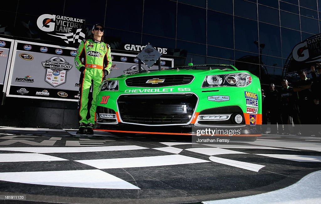 Danica Patrick, driver of the #10 GoDaddy.com Chevrolet, poses after winning the pole award for the NASCAR Sprint Cup Series Daytona 500 at Daytona International Speedway on February 17, 2013 in Daytona Beach, Florida.