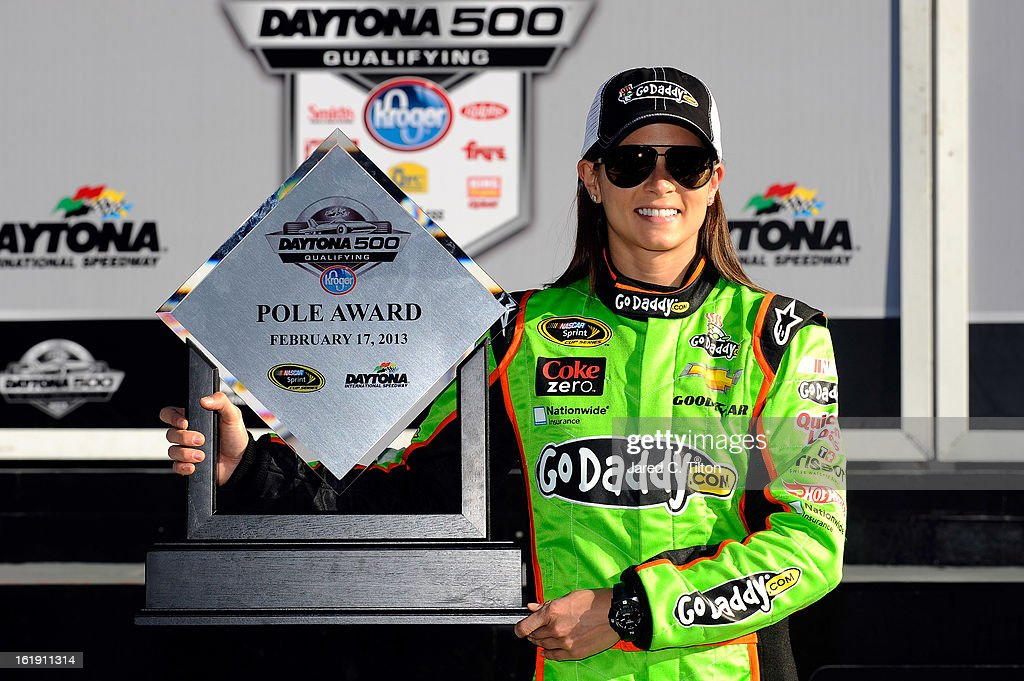 Danica Patrick, driver of the #10 GoDaddy.com Chevrolet, poses after winning the pole award for the NASCAR Sprint Cup Series Daytona 500 at Daytona International Speedway on February 17, 2013 in Daytona Beach, Florida.