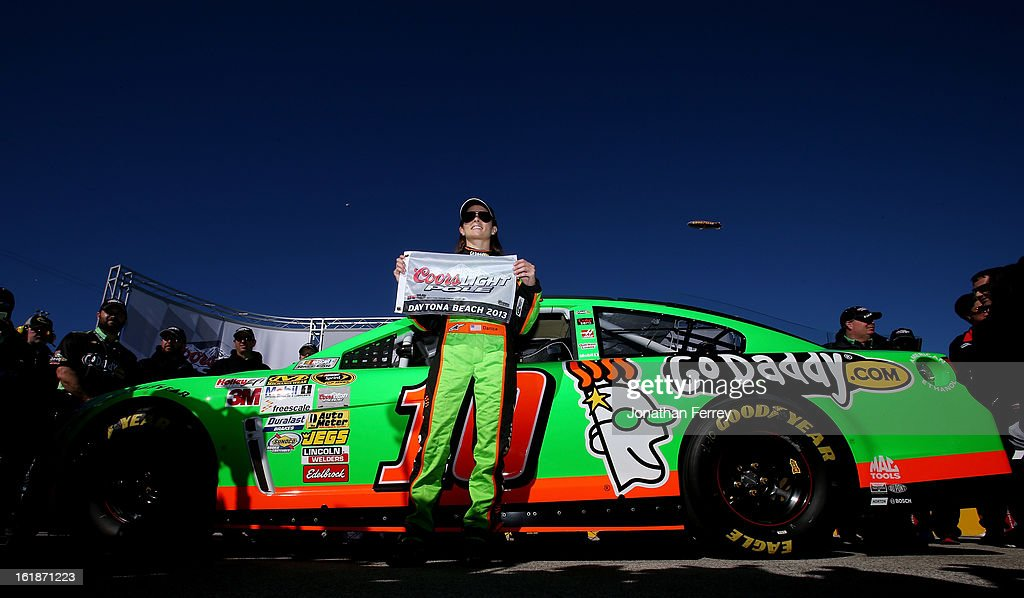 <a gi-track='captionPersonalityLinkClicked' href=/galleries/search?phrase=Danica+Patrick&family=editorial&specificpeople=183352 ng-click='$event.stopPropagation()'>Danica Patrick</a>, driver of the #10 GoDaddy.com Chevrolet, poses with the Coors Light Pole Award after qualifying for the NASCAR Sprint Cup Series Daytona 500 at Daytona International Speedway on February 17, 2013 in Daytona Beach, Florida.
