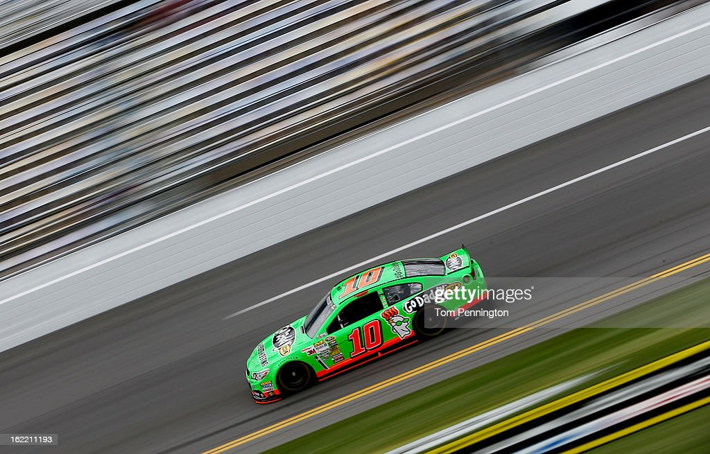 Danica Patrick, driver of the #10 GoDaddy.com Chevrolet, practices for the NASCAR Sprint Cup Series Daytona 500 at Daytona International Speedway on February 20, 2013 in Daytona Beach, Florida.