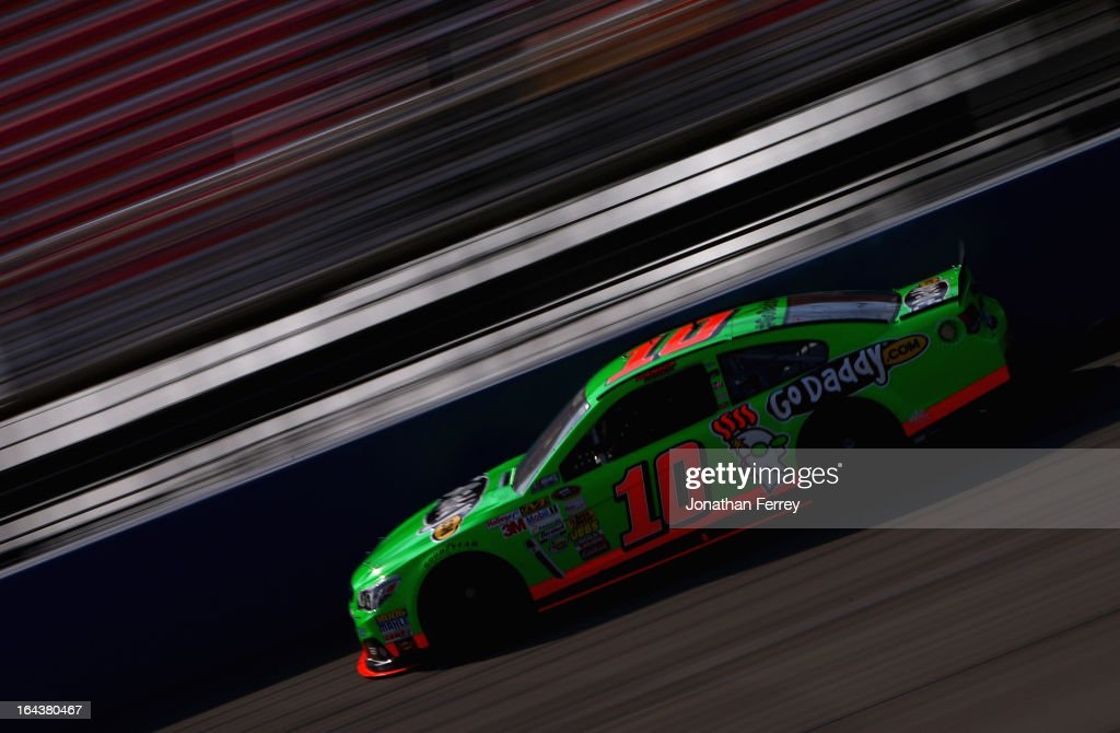 <a gi-track='captionPersonalityLinkClicked' href=/galleries/search?phrase=Danica+Patrick&family=editorial&specificpeople=183352 ng-click='$event.stopPropagation()'>Danica Patrick</a>, driver of the #10 GoDaddy.com Chevrolet, practices for the NASCAR Sprint Cup Series Auto Club 400 at Auto Club Speedway on March 23, 2013 in Fontana, California.