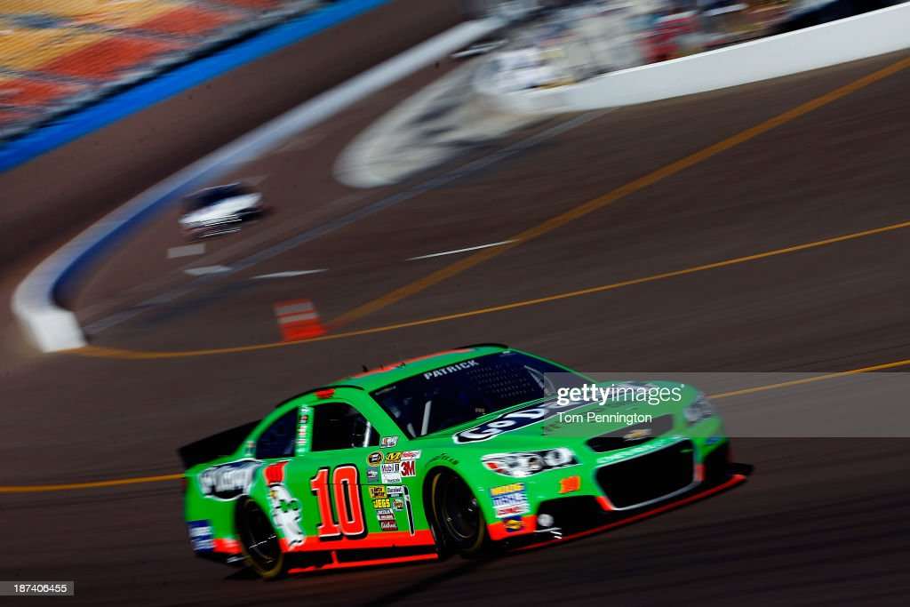 <a gi-track='captionPersonalityLinkClicked' href=/galleries/search?phrase=Danica+Patrick&family=editorial&specificpeople=183352 ng-click='$event.stopPropagation()'>Danica Patrick</a>, driver of the #10 GoDaddy.com Chevrolet, practices for the NASCAR Sprint Cup Series Advocare 500 at Phoenix International Raceway on November 8, 2013 in Avondale, Arizona.